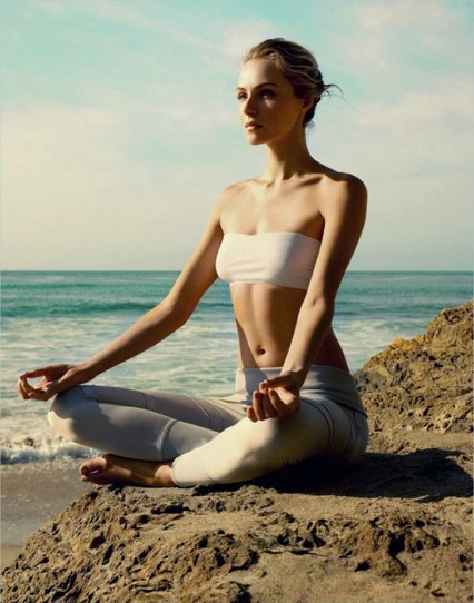 Valentina Zelyaeva Meditating for Harper's Bazaar UK August 2012