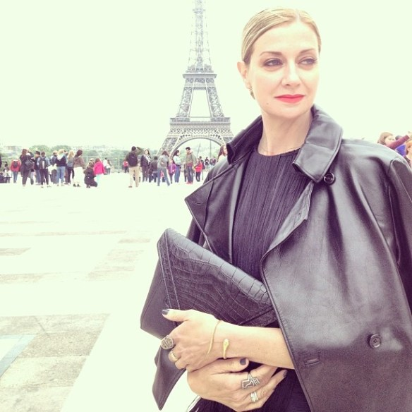 Lisa Marie McComb Visual Therapy Stylist in Paris in Bochic rings and LRVT clutch