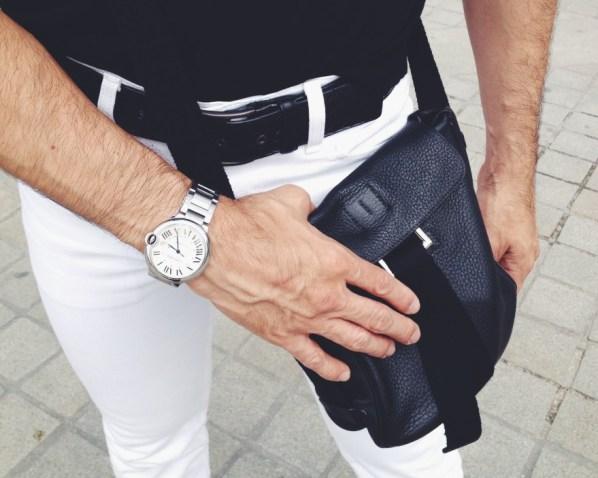 Levi's Jeans, Hermes Crossbody, Cartier Watch, Bottega Belt