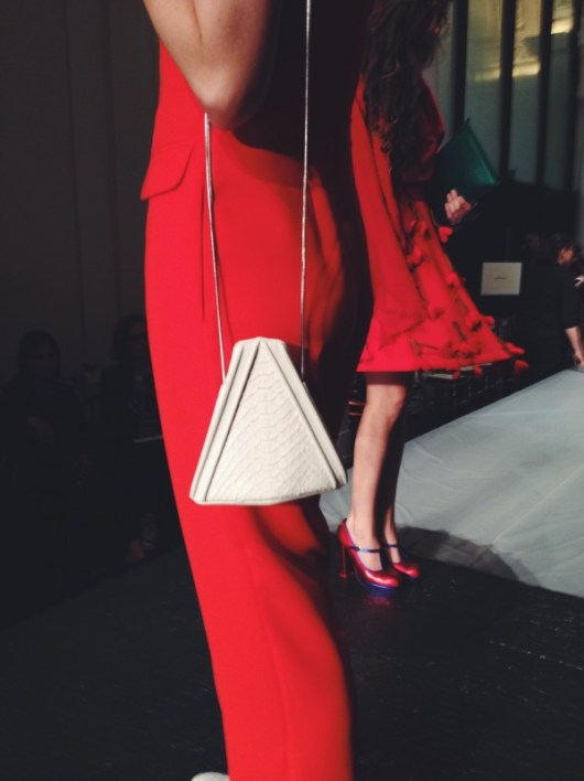 Haute Couture Diary: Lady In Red At Jean Paul Gaultier @lmcstyle in Opening Ceremony red jumpsuit, Givenchy lace oxfords from Barneys, LRVT Demi V bag in anaconda, and Daphne Dasque cobra bracelet