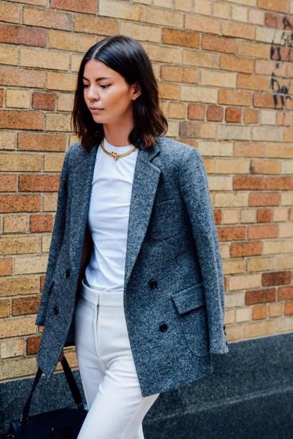 Grey Blazer Ivory Pant