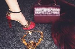 Valentino feather heels, Saint Laurent croc crossbody and Marni Fur Shrug