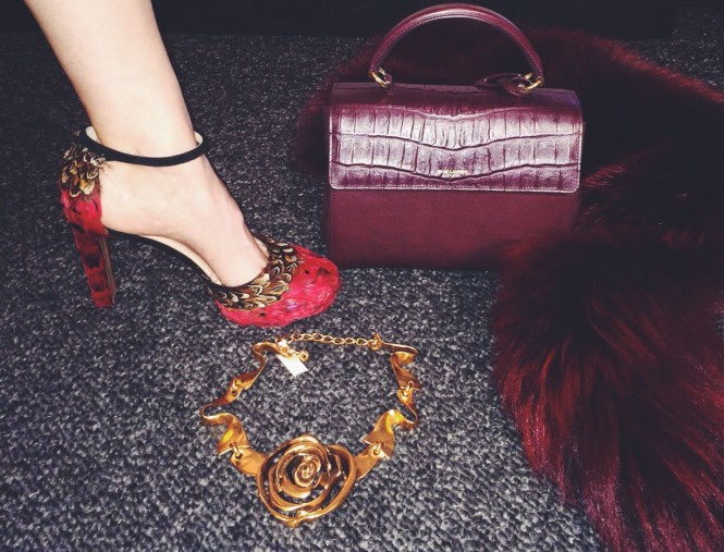 Valentino feather heels, Saint Laurent croc crossbody and Marni Fur Shrug