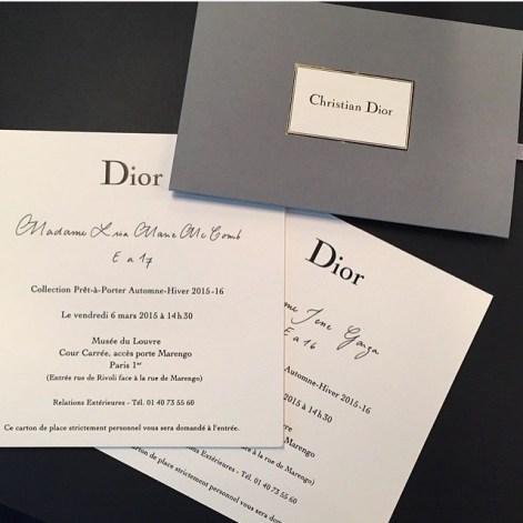 Dior fashion show invite