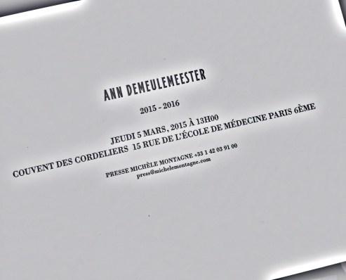 Ann Demeulemeester Paris Fashion Week Show Invite