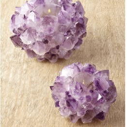 I have always been a fan of votives and this amethyst pair from Kathryn McCoy would work anywhere in your home