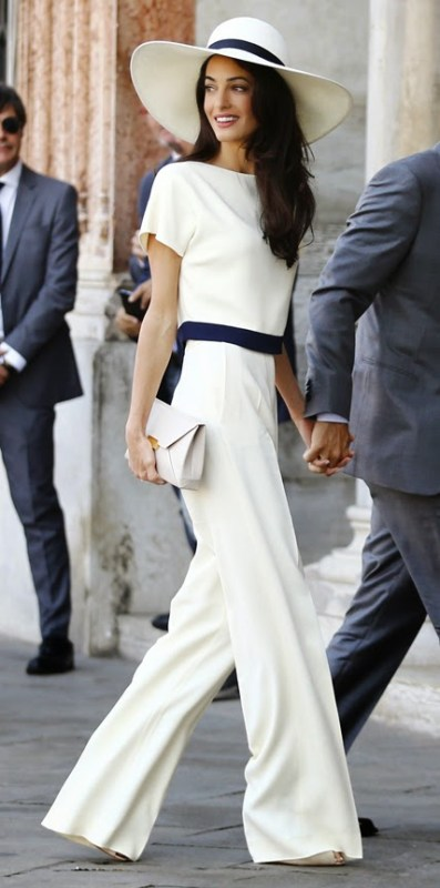 lush-fab-glam.com Celebrity style George Clooney's bride amal alamuddin in a white pantusit and hat