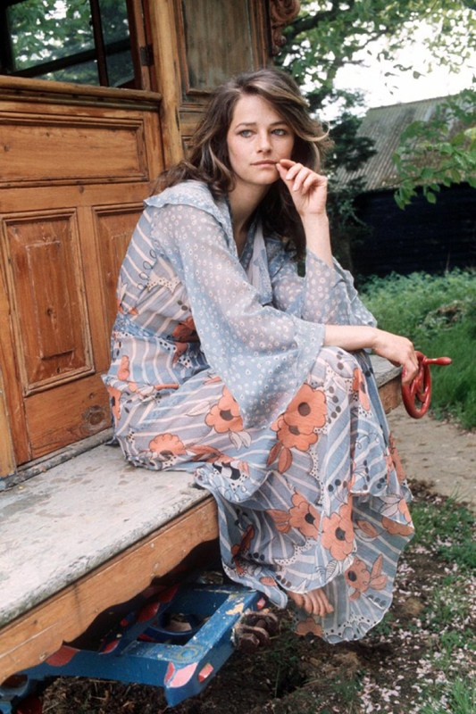 Charlotte Rampling 1970s boho chic fashion style young