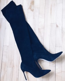 Manolo Blahnik Black Suede Over The Knee Boots