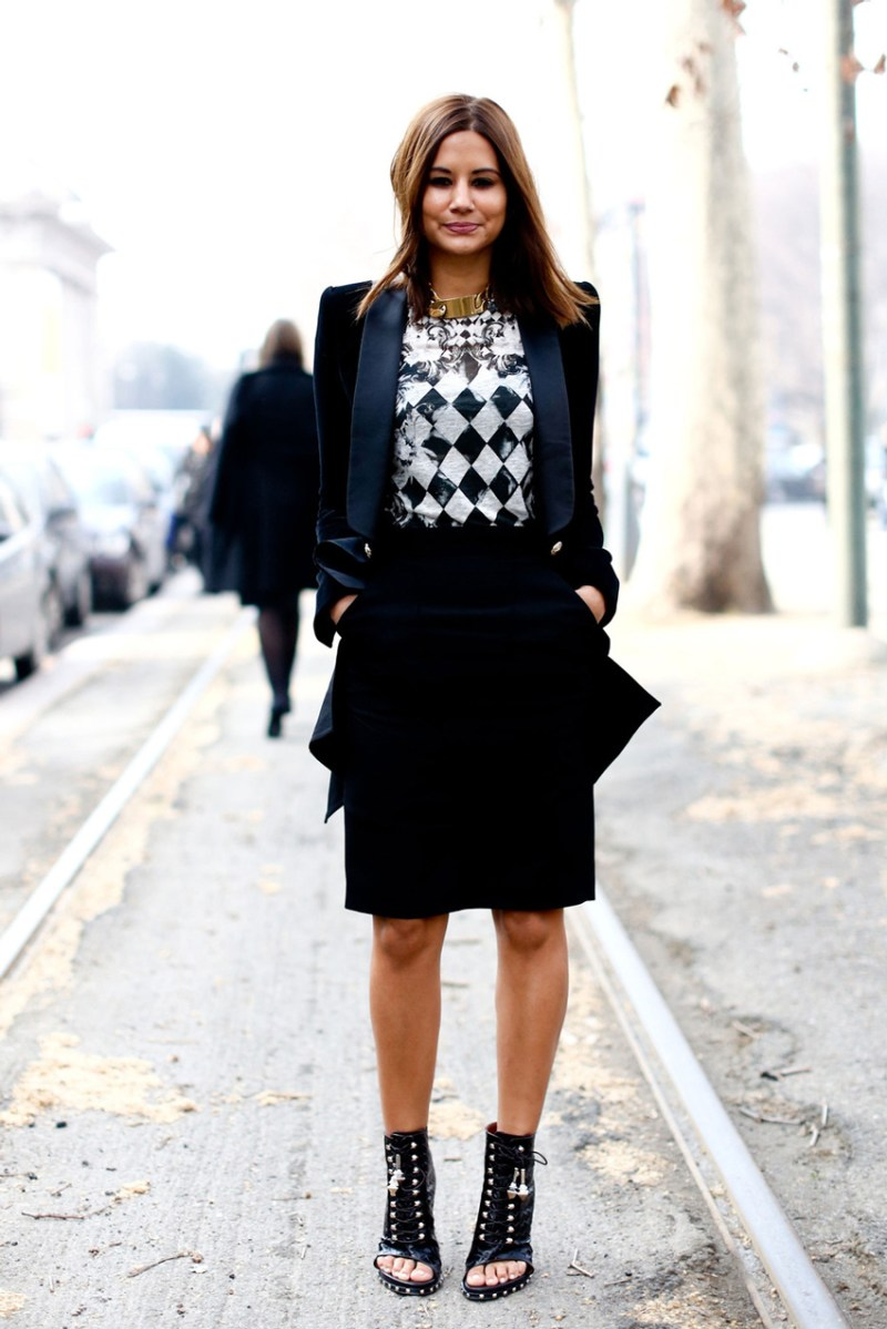 Black and navy street style trend christine centenera