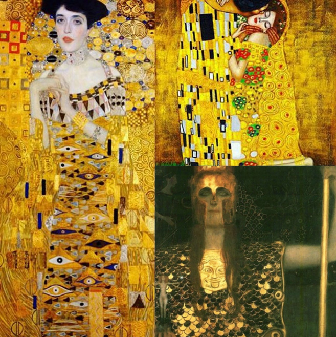 Inspiration board for Klimt-themed Halloween party