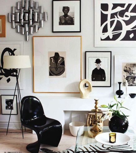 Take note of the incredible use of shape and form in this Ralph Lauren gallery wall.