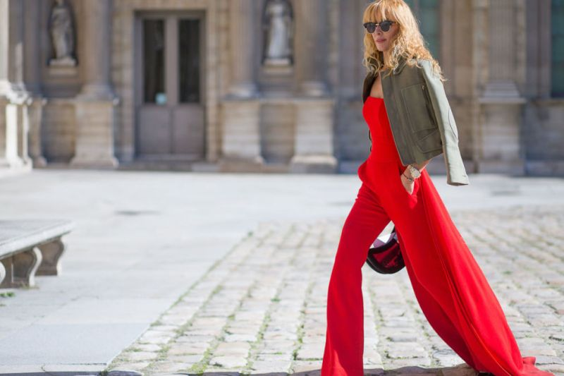 Red Jumpsuit Paris Fashion Week street style, via Harper's Bazaar