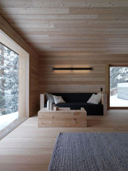 This uber chi minimalist cabin is not only incredibly zen and comfortable but the light wood is a warm and inviting approach to minimalism.