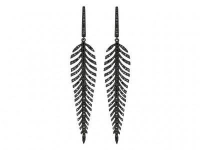 black diamond feather earrings
