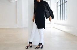 Gabriela Ribeiro new york stylist white jeans, tunic and moto jacket | Visual Therapy