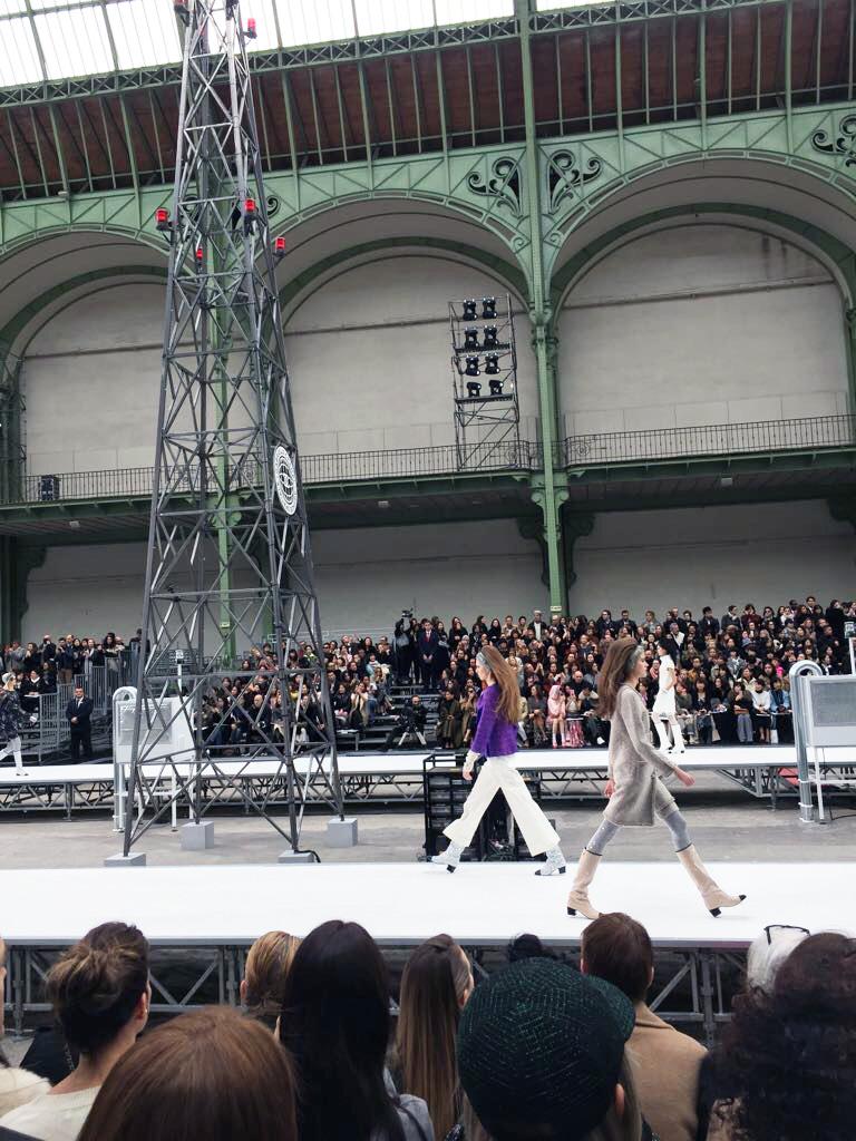 models walking down runway at Chanel fall 2017 show