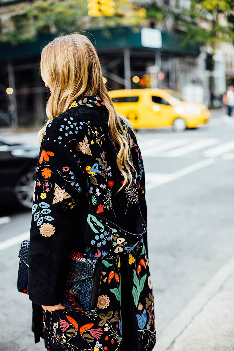 Embroidered coat street style