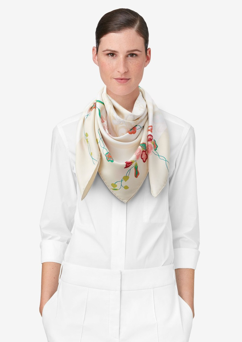 hermes floral scarf on model