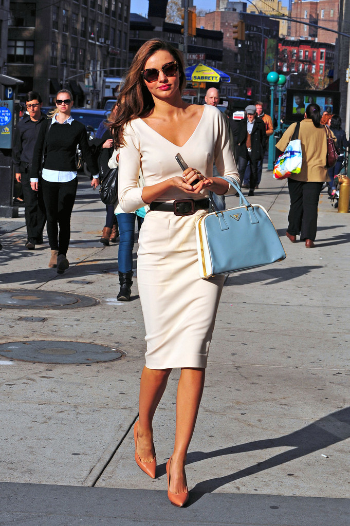 miranda kerr wearing a classic style type outfit