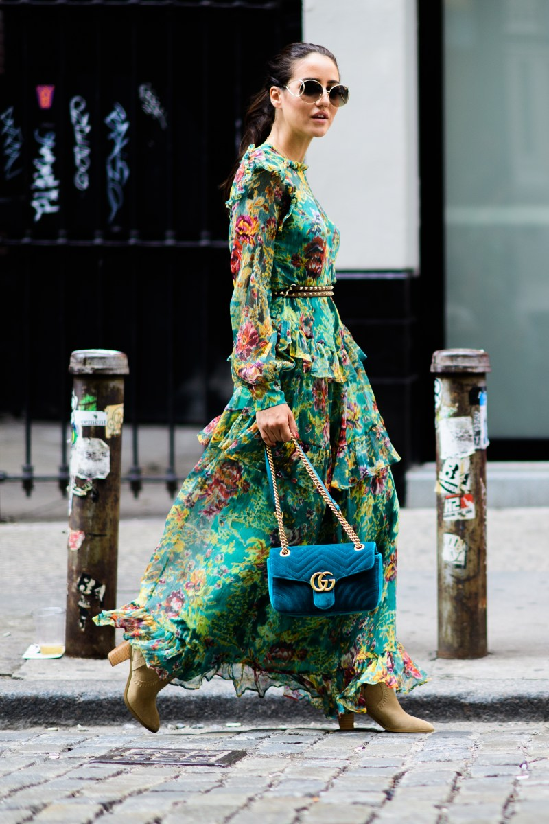 bohemian street style floral dress with turqouise gucci velvet bag