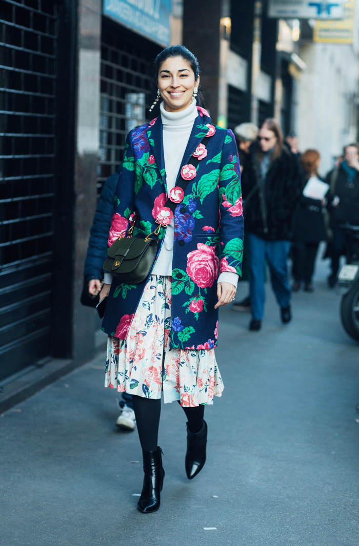 whimsical style type street style floral print jacket and skirt