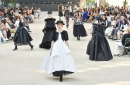 Models walk in the chanel couture show in paris