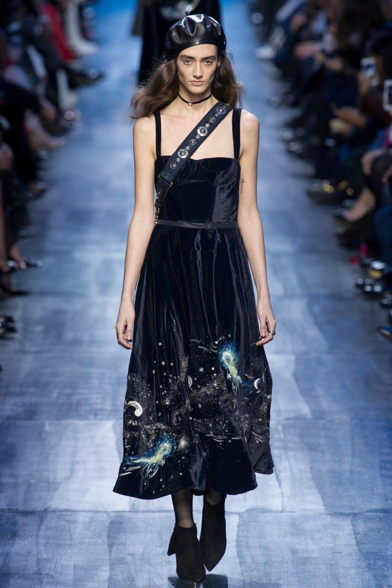 Model walking down runway in Dior 2017 runway show