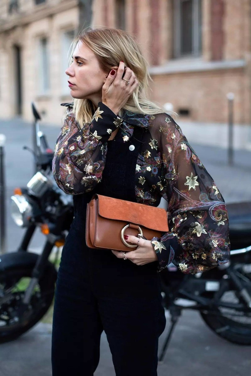 cosmic balloon sleeve shirt with chloe faye bag