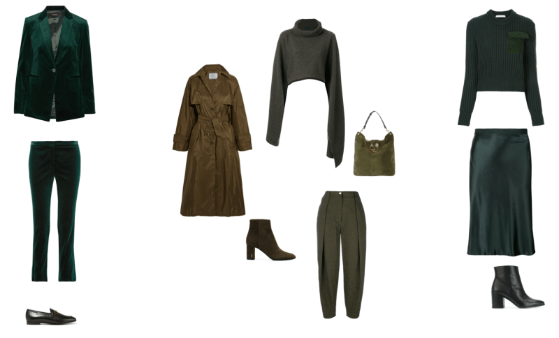 Lay out of green clothing pieces