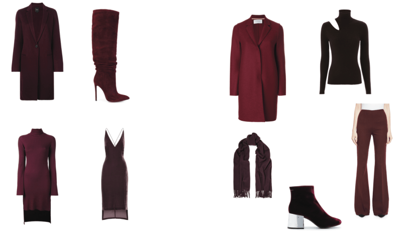visual therapy stylist tips on burgundy monochromatic outfits