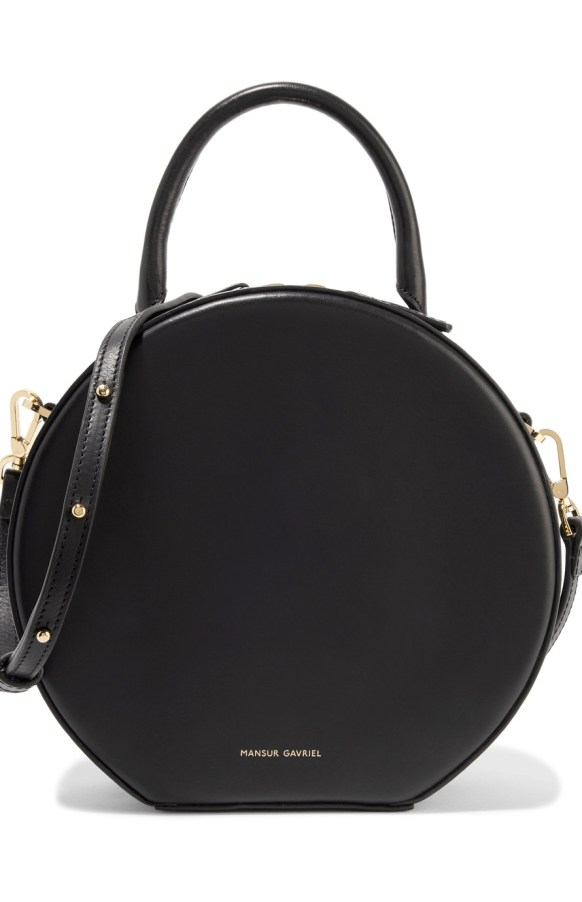 mansur gavriel circle leather shoulder bag black