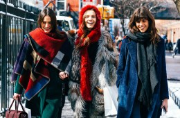 Street style shot of bloggers in winter fashion