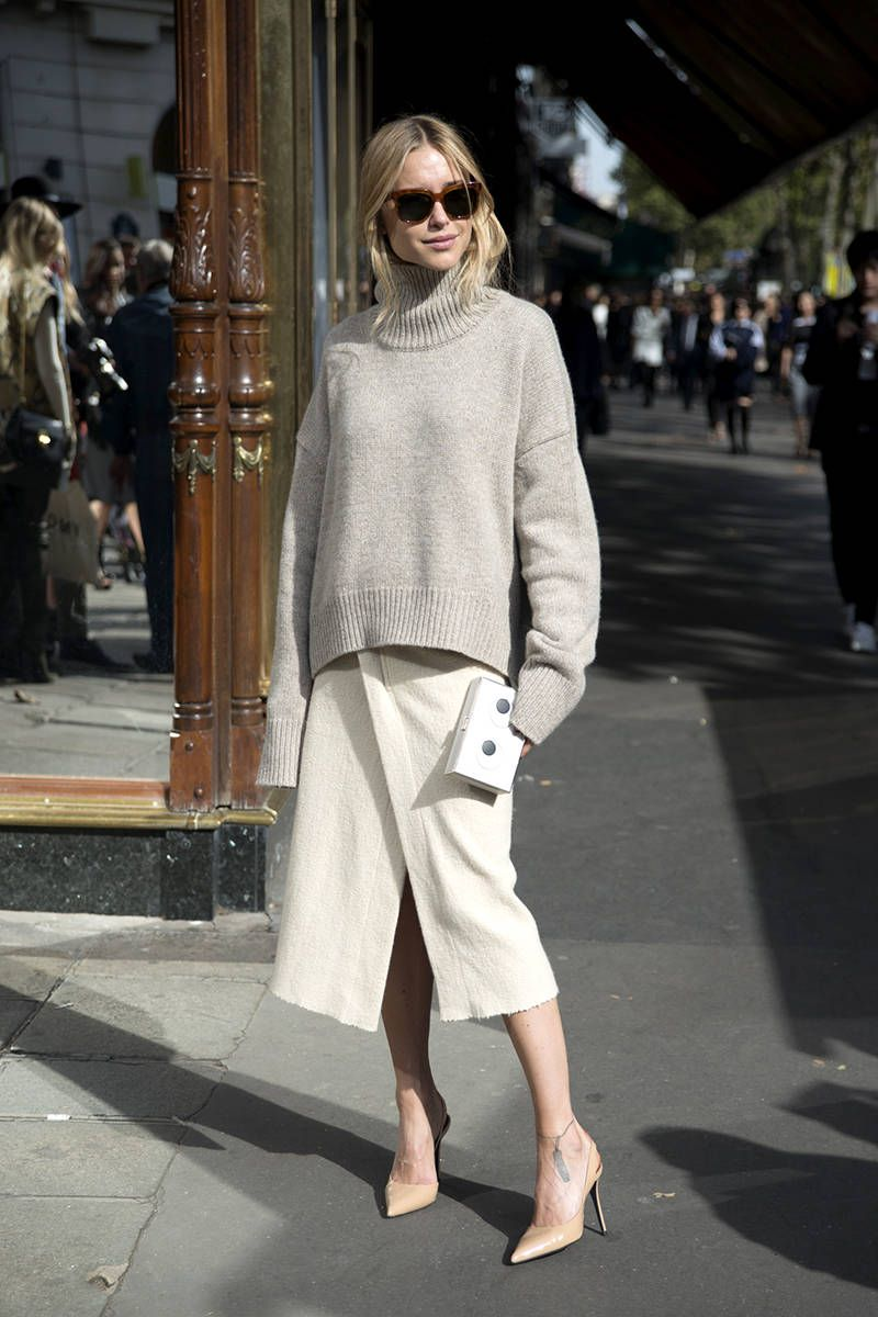 pernille teisbaek in a neutral head to toe outfit