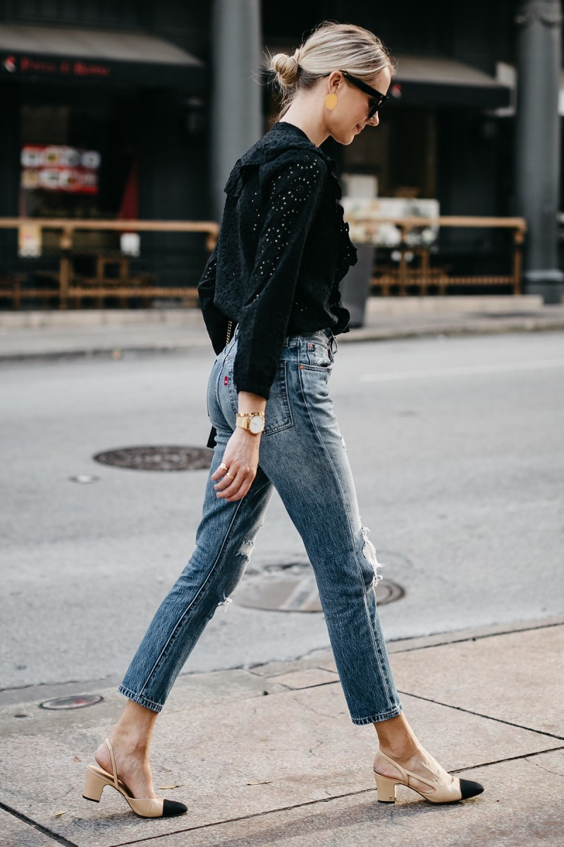 Fashion-Jackson-Madewell-Black-Eyelet-Blouse-Levis-Denim-Ripped-Skinny-Jeans-Chanel-Slingbacks 1