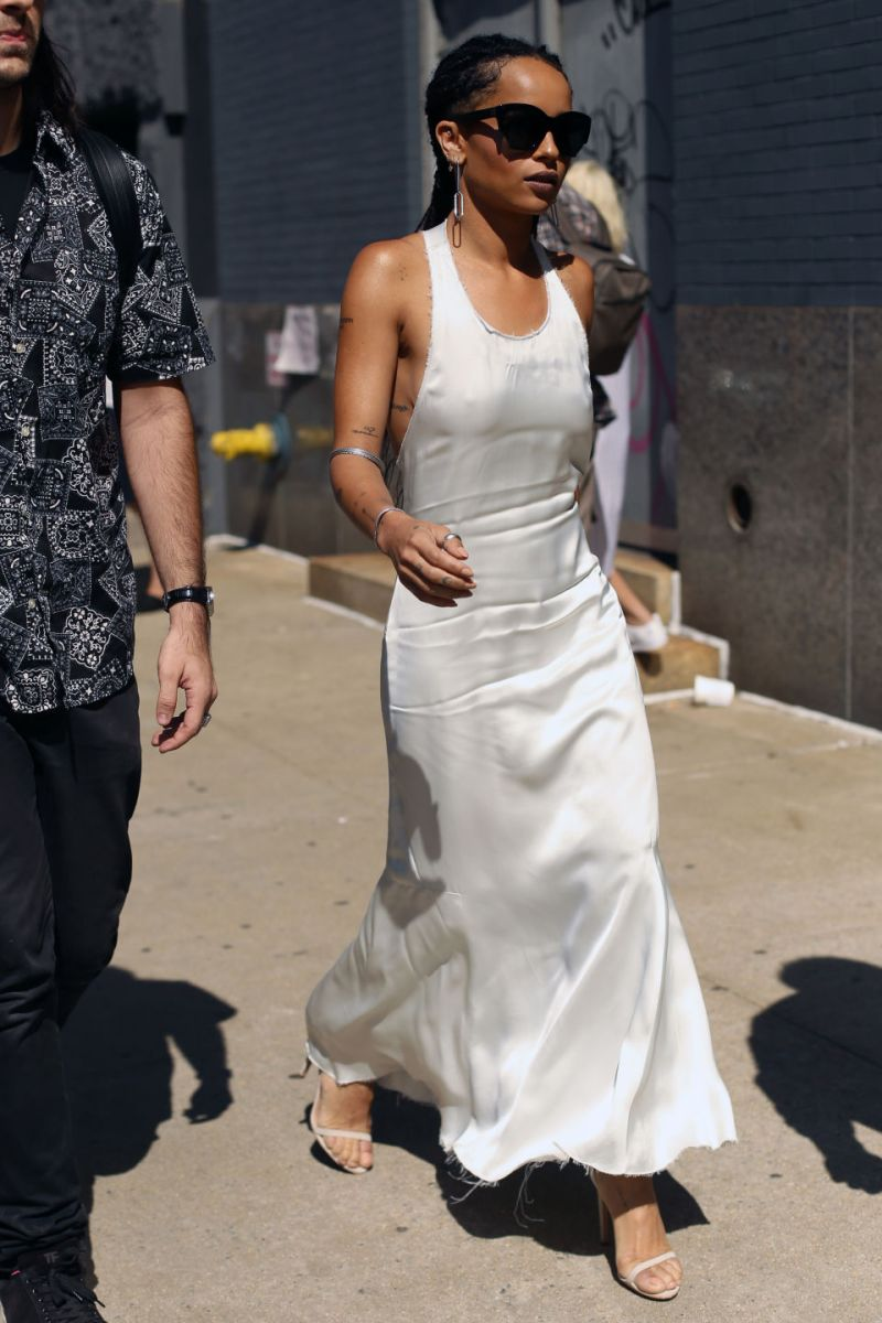 Zoe Kravitz in white slip dress