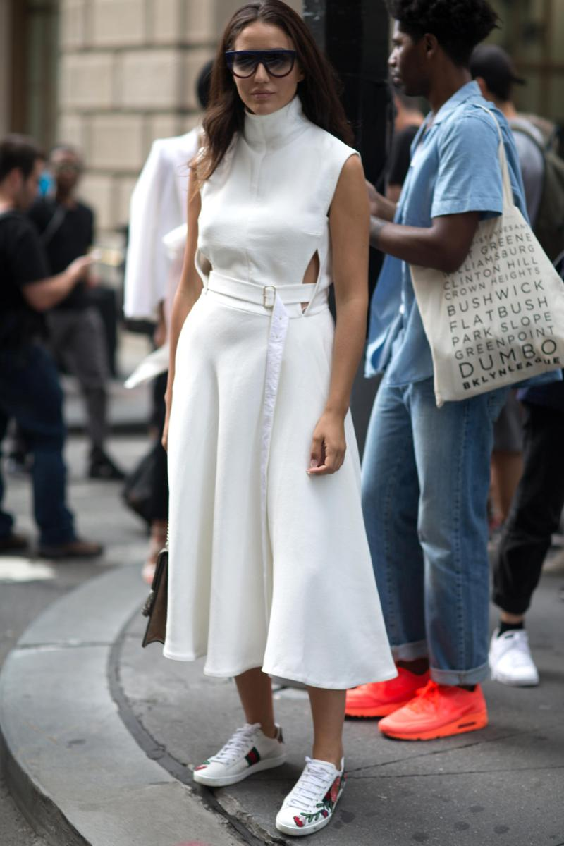 street style shot of girl wearing white dress