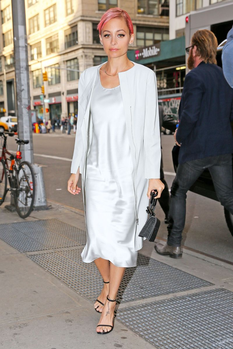 Nicole Richie in a slip dress, jacket and sandals