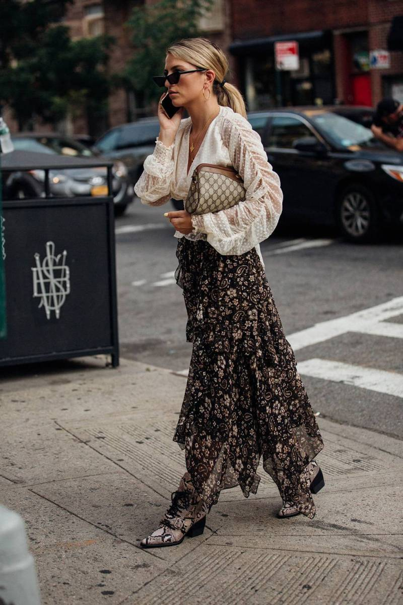 Street style shot of woman wearing cowboy boots at nyfw