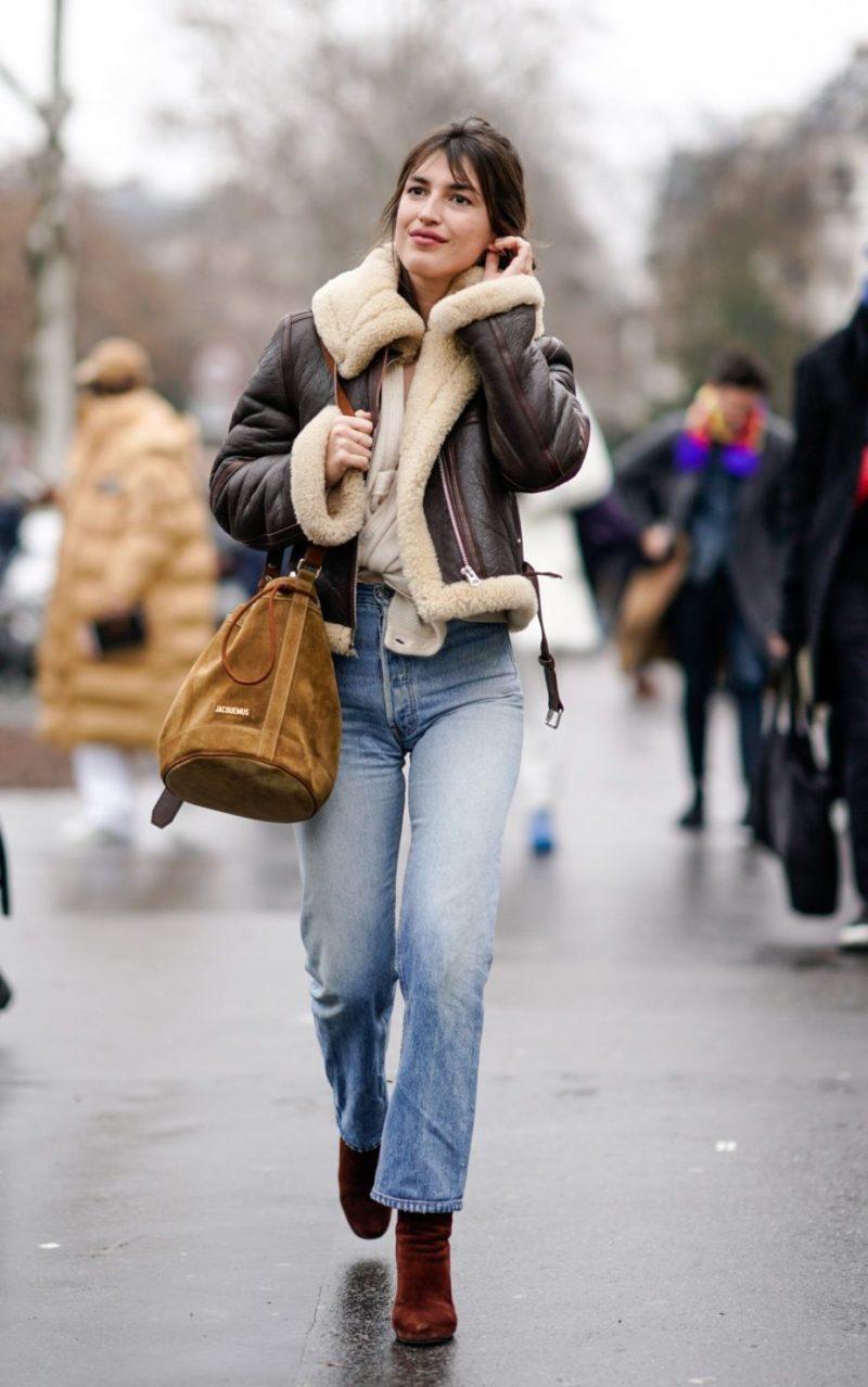 Shearling jacket street style