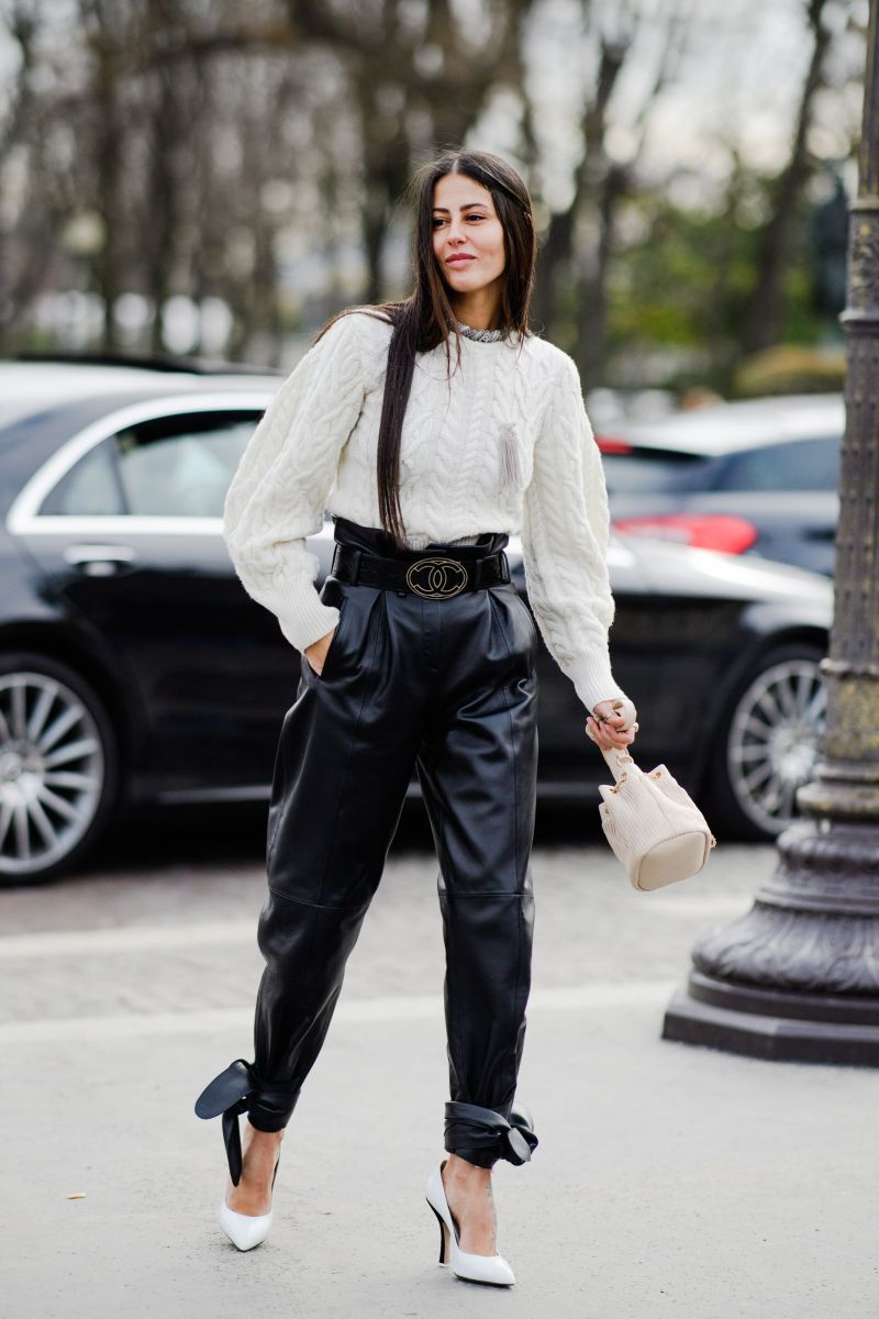 gilda ambrosio in white Chanel cable knit sweater and high waisted leather pants