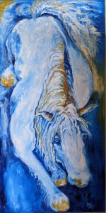 Painting of a horse that appears to be laying down and surrounded by blue and a gold color that matches the color of its mane and hooves.
