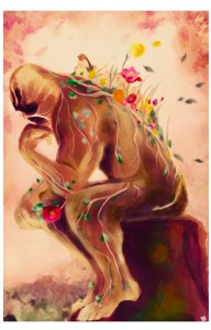 A print of a ghost thinking wrapped in colorful flowers