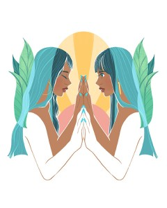 An art print of two girls facing eachother with a mirrored poses of their hands touching eachother