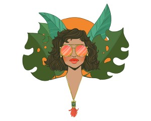 A girls head with round sunglasses looking straight ahead with leaves behind her head