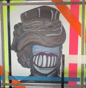An abstract painting of a woman with a hat and no face except for a large mouth with large teeth