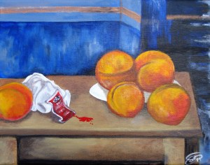 A painting of peaches with an open packet of hot sauce