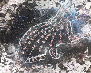 A painting of the silhouette of a cat with several red diamonds across it's back