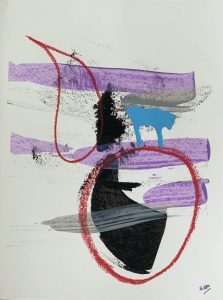 An abstract painting with purple, black, blue and red shapes on a white background
