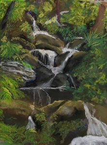 A pastel of a spring in a green forest